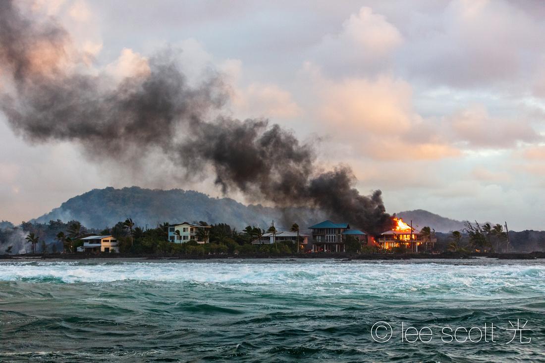 Ocean Front Fire at Kapoho Bay