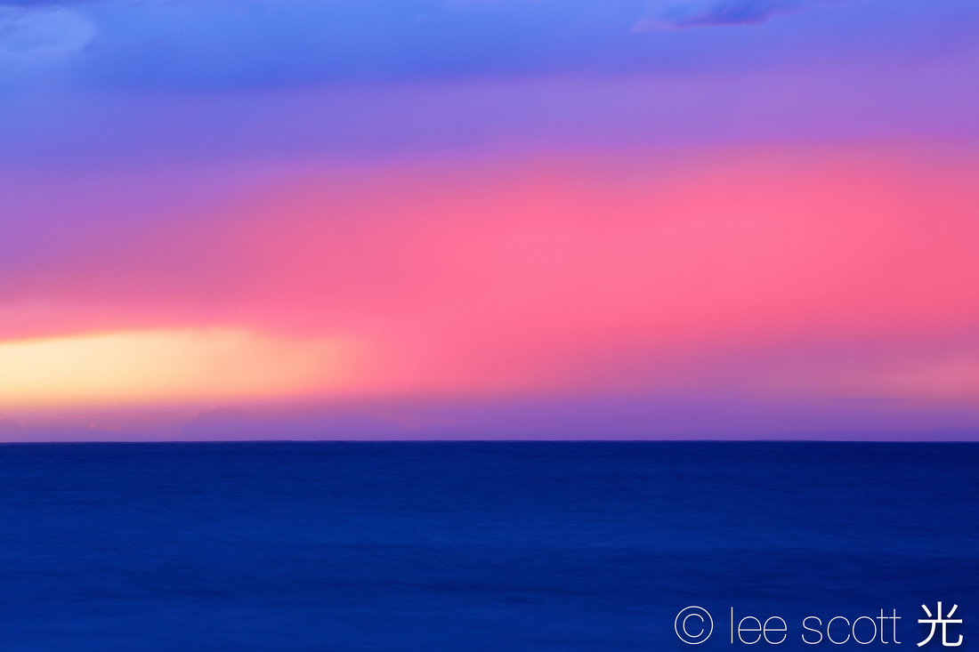 sunset in pink and blue