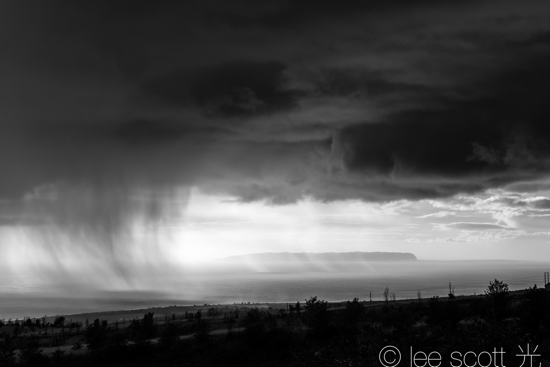 Passing Showers along Waimea Canyon Drive (bw)