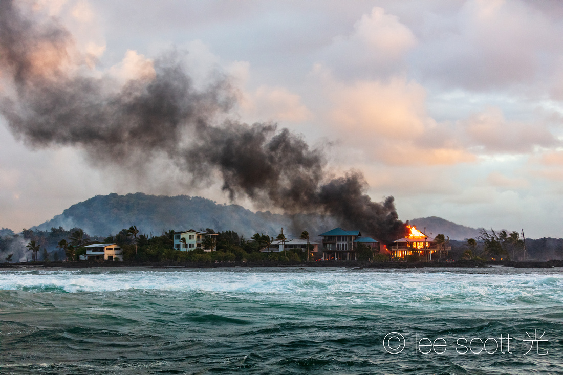 Ocean Front Fire at Kapoho Bay